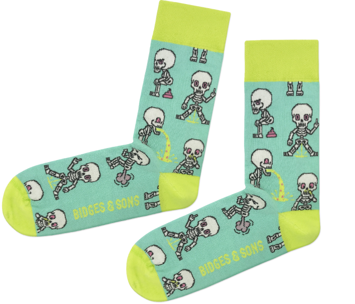 bidges-and-sons__Socken_nasty-skeletons_mint yellow_isolated_product_2349_4543