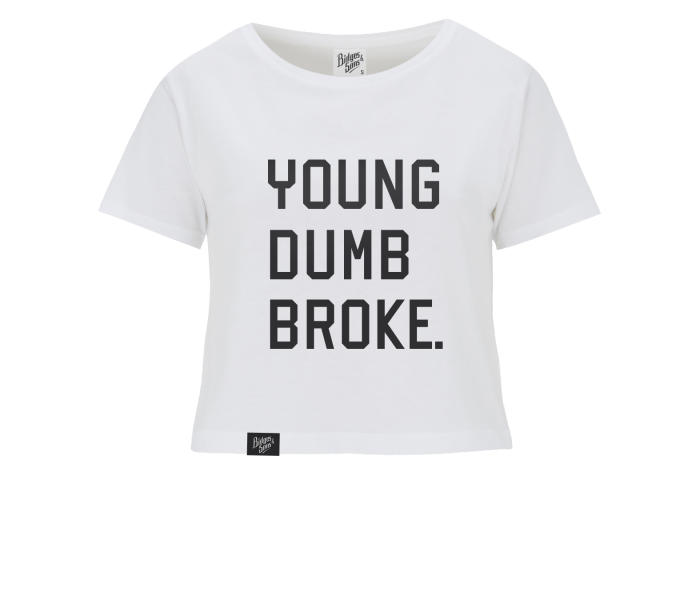 bidges-and-sons_ladies_crop-top-t-shirt_young-dumb-broke_white_isolated_product_1843_4134