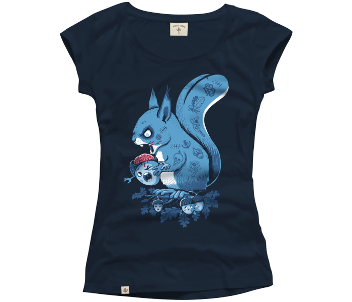 bidges-and-sons_ladies_low-cut-t-shirt_zombie-squirrel_french-navy_isolated_product_2146_4353